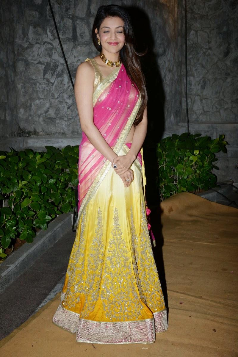 Kajal Aggarwal Gorgeous Pics In Pink Saree