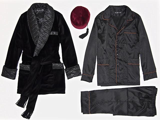 Mens black velvet smoking jacket quilted silk robe english dressing gown