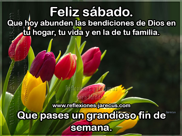 Feliz sábado, que hoy abunden las bendiciones de Dios en tu hogar, tu vida y en la de tu familia. Que pases un grandioso fin de semana