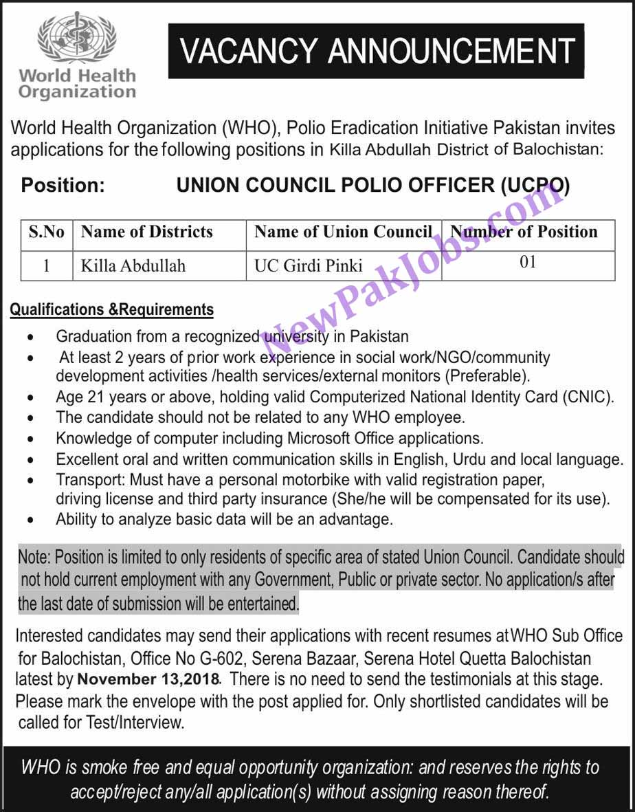 Union Council Polio Officer