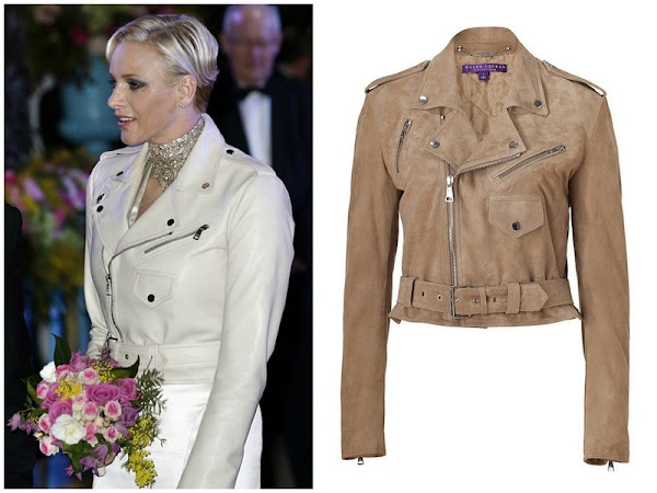 Princess Charlene of Monaco leather jacket by Ralph Lauren