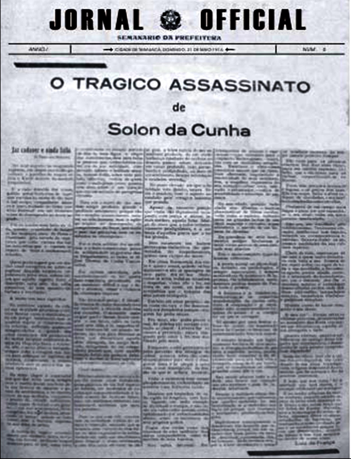Exemplar do Jornal Official destacando o assassinato de Sólon da Cunha