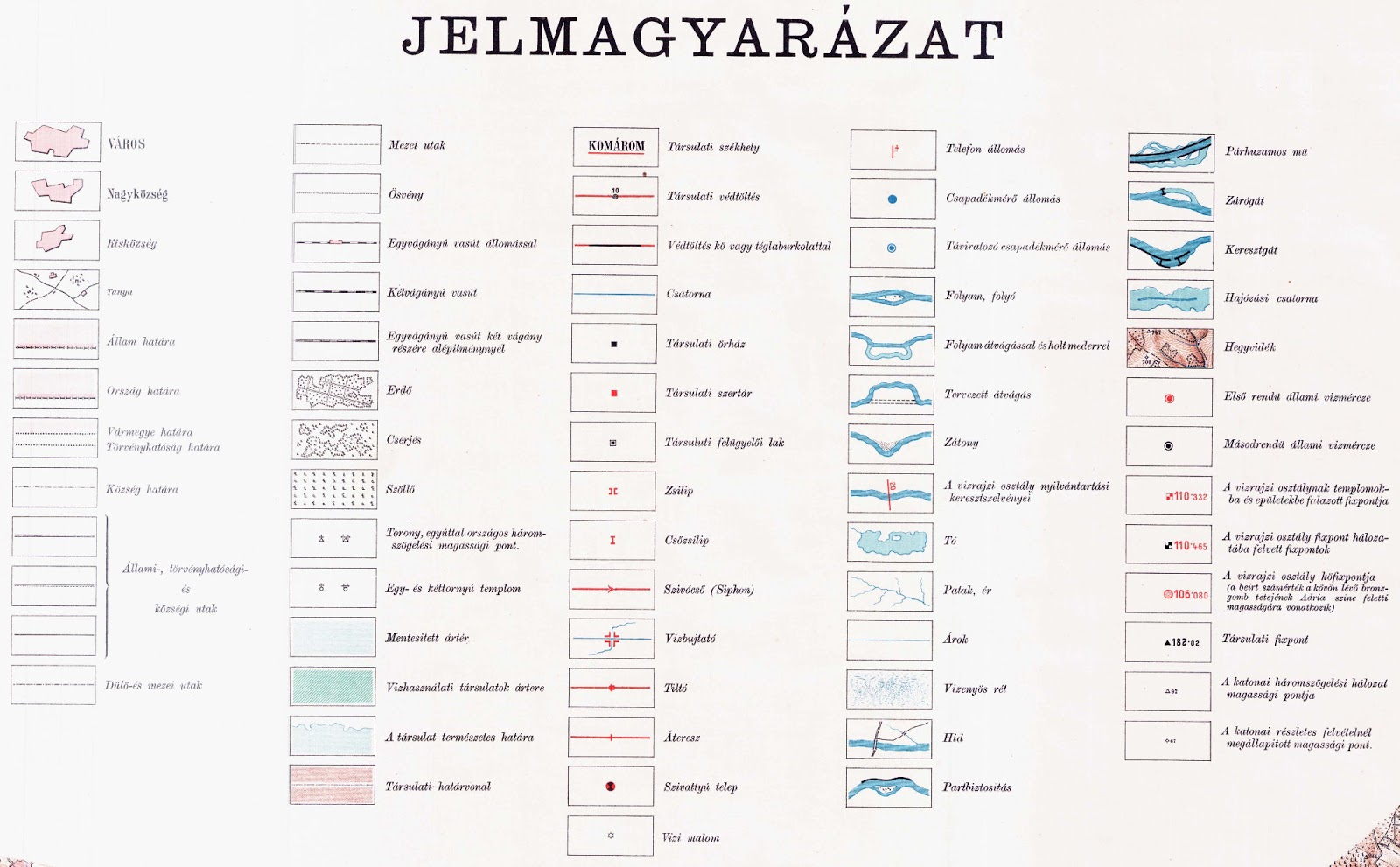 térkép jelmagyarázat Dunai Szigetek: Vályi Béla: A Dunavölgy átnézeti térképe, 1898 térkép jelmagyarázat