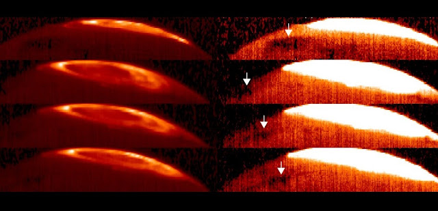 The Great Cold Spot was first discovered on Jupiter using observations taken of Jupiter's auroral region by the CRIRES instrument on ESO's Very Large Telescope. The images on the left show the bright arcs of Jupiter's infrared aurora on two separate nights, the top left image on 17 October and three images taken 31 December 2012, as the planet slowly rotates. However, the Great Cold Spot cannot be seen clearly until these images are saturated so that the entire aurora becomes white, as shown on the right. Here, the planet glows as a result of the temperature of the upper atmosphere, and the distinct regions of cooling that reveal the Great Cold Spot can be seen. Based on data from VLT/ESO.