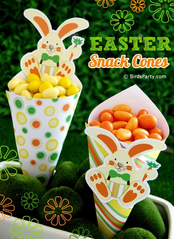 DIY Easter Bunny Snack Cones Tutorial - BirdsParty.com