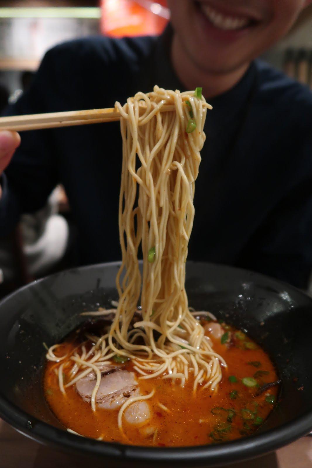 Ippudo's Karaka Spicy Ramen noodles.