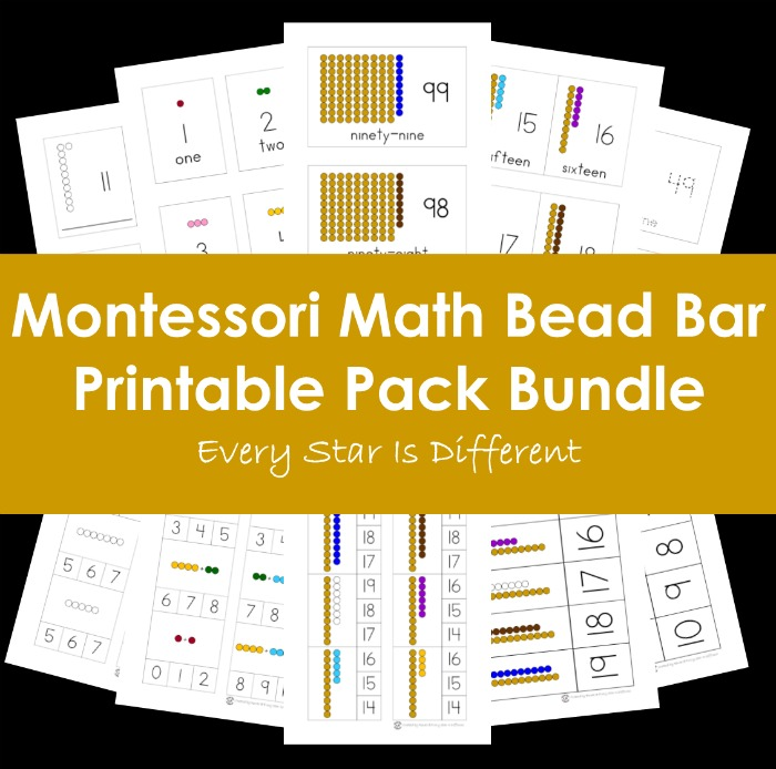 Montessori Math Bead Bar Printable Pack in Print