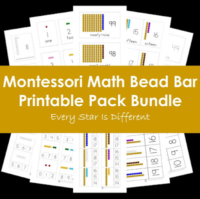 Montessori Math Bead Bar Bundle in Print