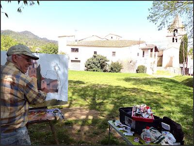 SANT GREGORI-PINTURA-PAISATGES-GIRONA-CATALUNYA-FOTOS-PINTANT-QUADRES-ESGLESIA-MEDIEVAL-PINTOR-ERNEST DESCALS