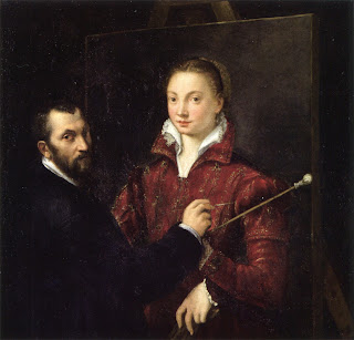 Anguissola's painting of herself being painted by her teacher, Bernardino Campi, during her early days in Cremona
