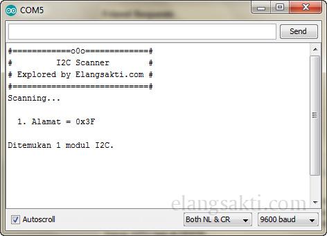 Contoh Program Arduino hasil program Arduino I2C Adrress Scanner