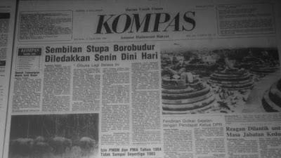 berita Peristiwa Bom Candi Borobudur - Magelang (21 Januari 1985) di tabloid kompas