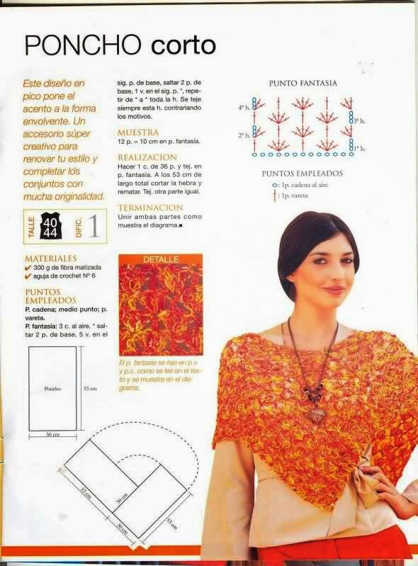 Patrones para tejer poncho corto al crochet | Crochet y Dos agujas ...