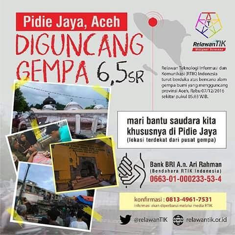 Sejumlah Komunitas TIK Turun Membantu Pengalangan Dana Untuk Korban Gempa Pidie Jaya