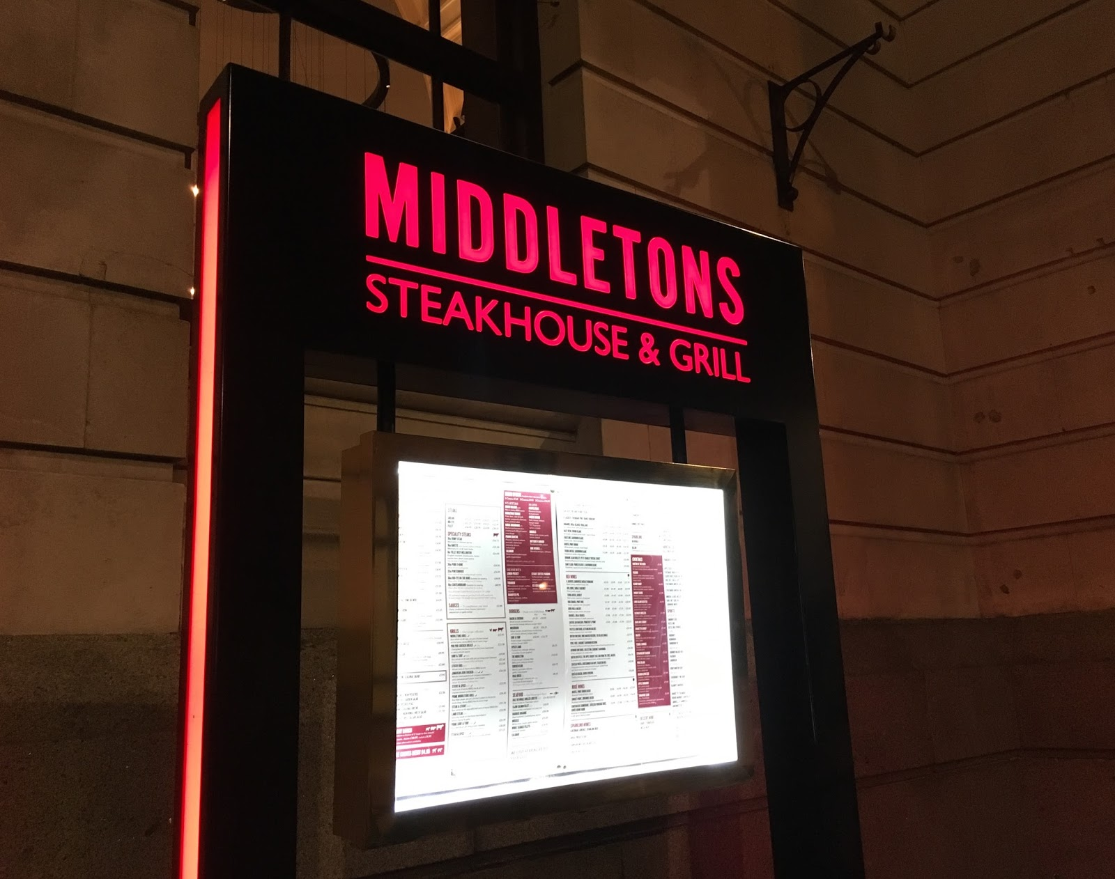 Middletons review Leicester steakhouse Priceless Life of Mine