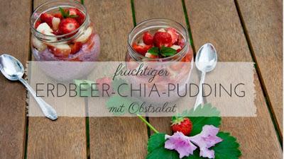 Leckeres gesundes Frühstück: Erdbeer Chia Pudding mit Pfirsich-Erdbeer Obstsalat | vegan