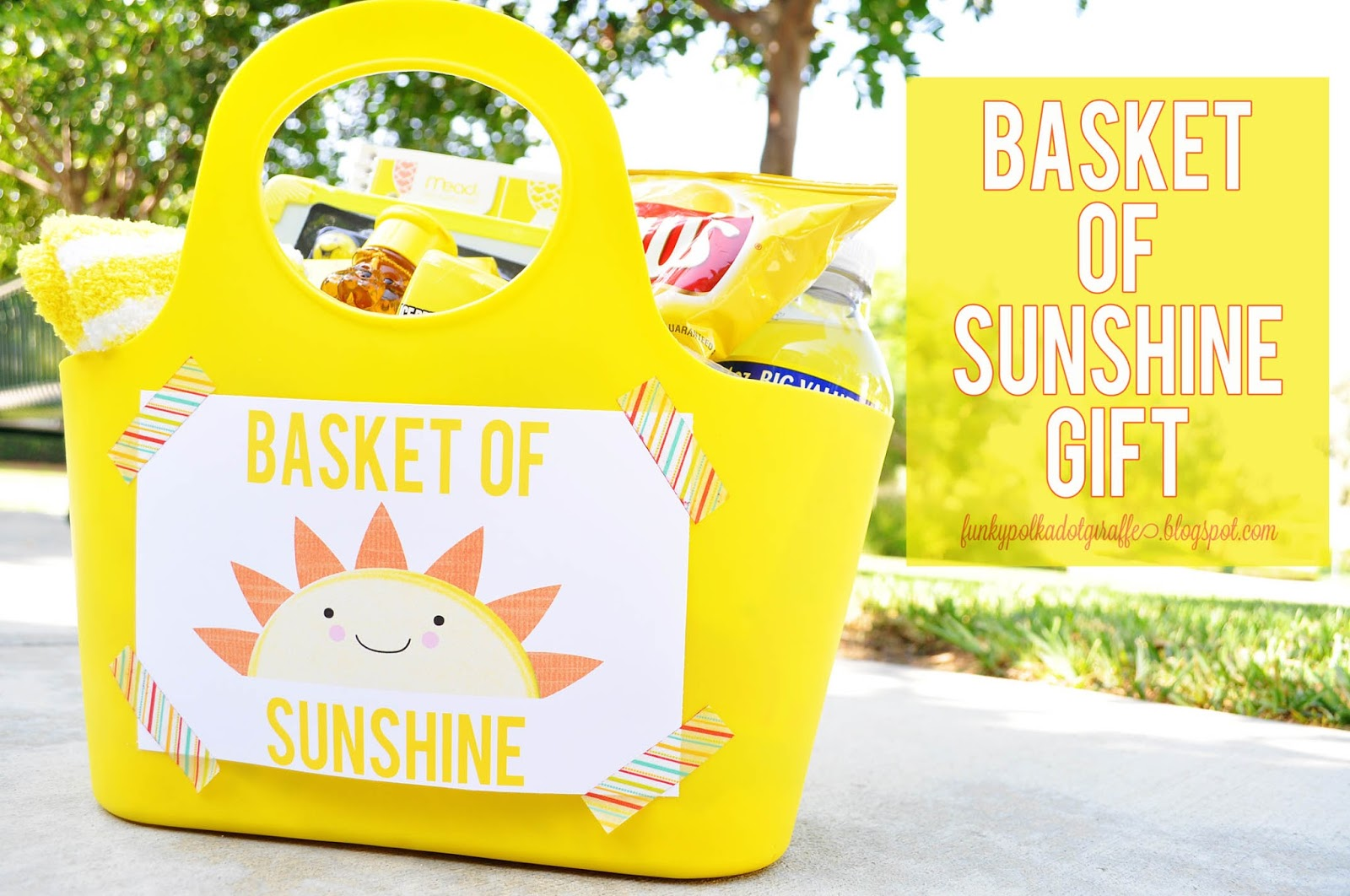 graphic about Basket of Sunshine Printable named Funky Polkadot Giraffe: Basket of Solar Reward with Printables