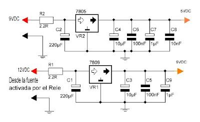 TDA7449 fuente de alimentación.