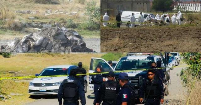 Camión de volteo tira 8 CUERPOS entre ellos una mujer, un Policía, una cabeza y 1 extremidad en Puebla