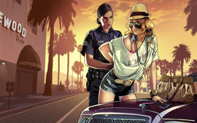 Grand Theft Auto V Girl Cop Arrest - Fond d'Écran en Full HD 1080p