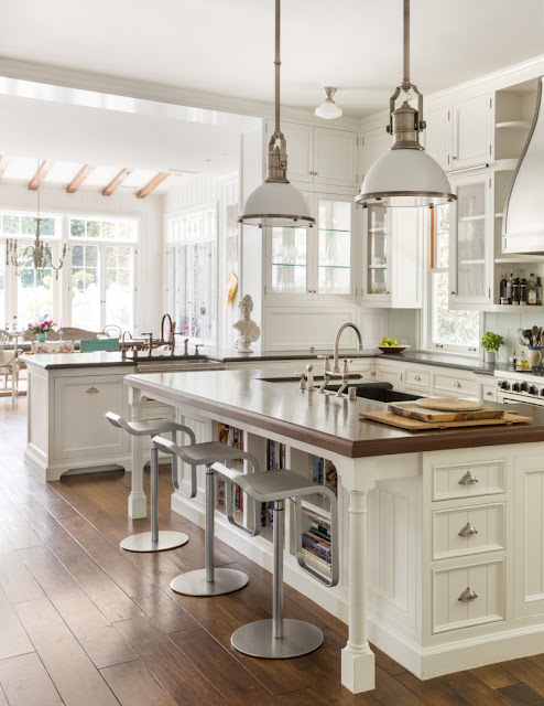 White modern farmhouse kitchen with island and decor by Samantha O'Connor