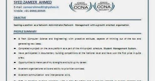 Ccna Resume Format Pdf Sample Resume Service