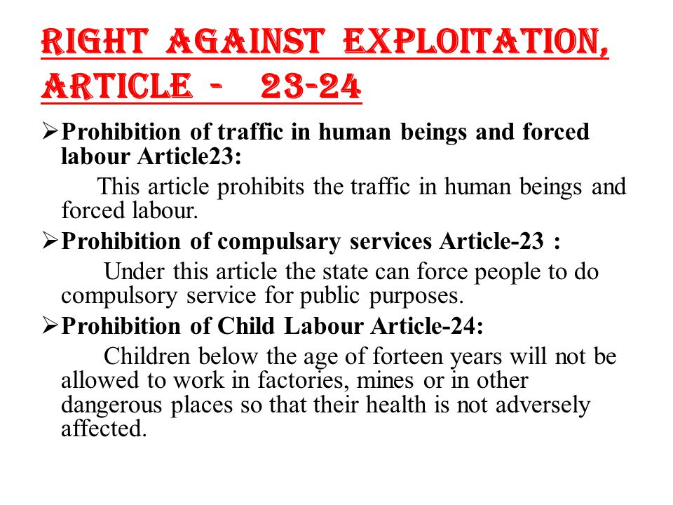 GENERAL STUDIES INDIA Article And Of Indian Constitution Right Against Exploitation And Child Labour