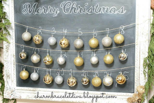 Vintage chalkboard Christmas countdown/Advent Calendar
