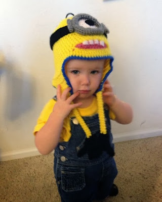 Halloween Despicable Me Minion costume with crocheted hat