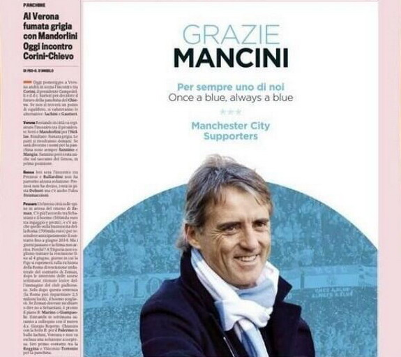 Manchester City fans thank Roberto Mancini with advert in Italian newspaper Gazzetta dello Sport