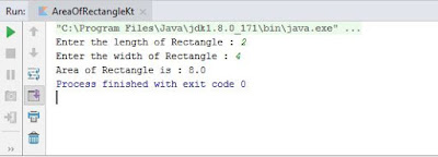 Program to find an area of the rectangle in Kotlin