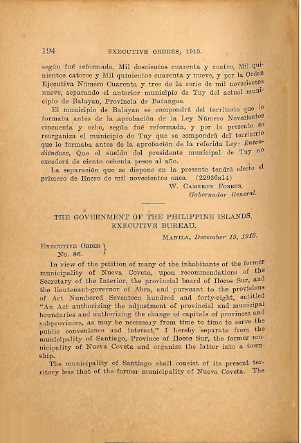 Executive Order No. 85 s. 1910 Spanish version, continued.