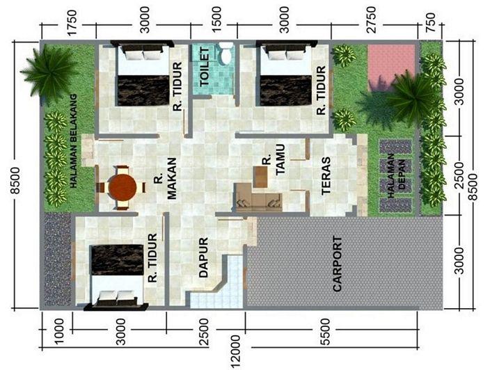 denah rumah ukuran 6x8m 3 kamar inspiratif