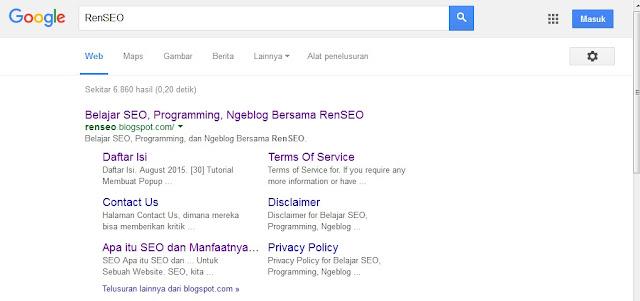 Mendapatkan Sitelink dari Google dalam usia 1 Bulan Ala RenSEO