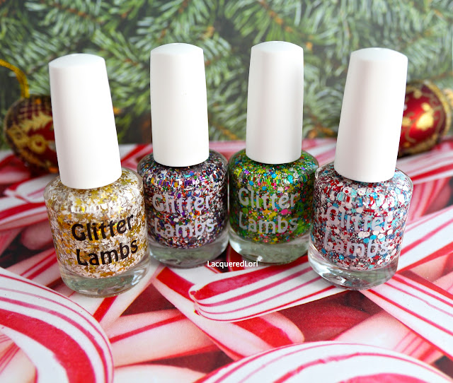 Angel Cookies, Rudolph's Snowglobe, Rockin Around The Christmas Tree, Peppermint Blizzard- Glitter Lambs Christmas Nail Polishes by Lacquered Lori
