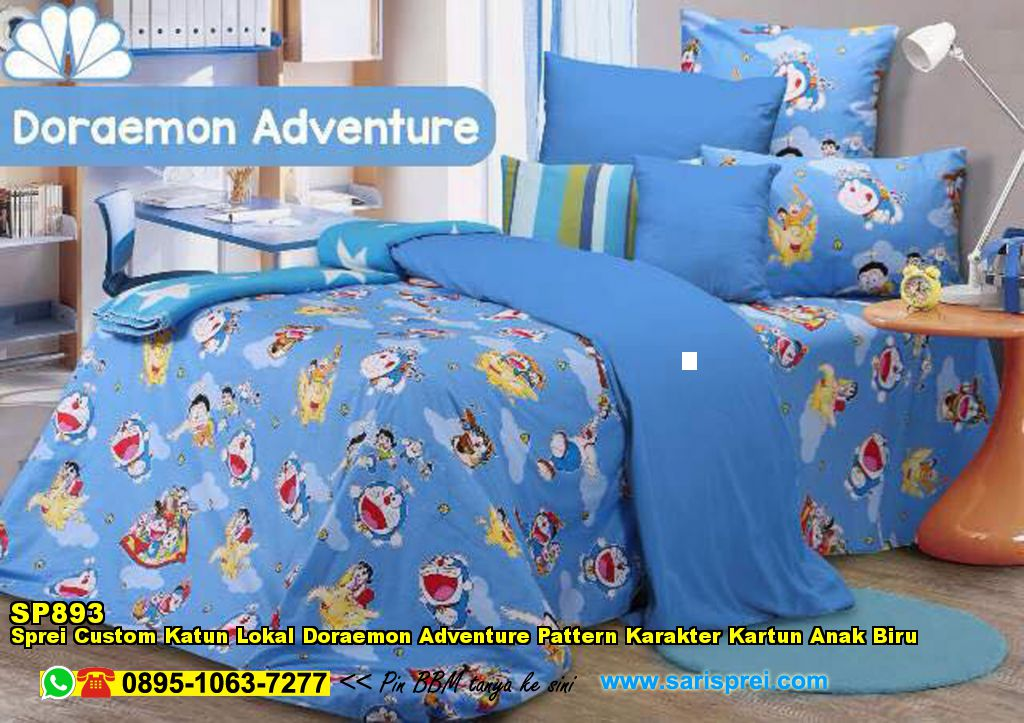 Sprei Custom Katun Lokal Doraemon Adventure Pattern