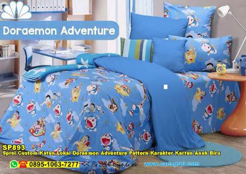 Sprei Custom Katun Lokal Doraemon Adventure Pattern Karakter Kartun Anak Biru