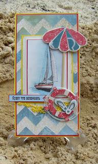 скрап,открытка,бумага,подарок,отдых,отпуск,море,парусник,бисер,зонт,круг