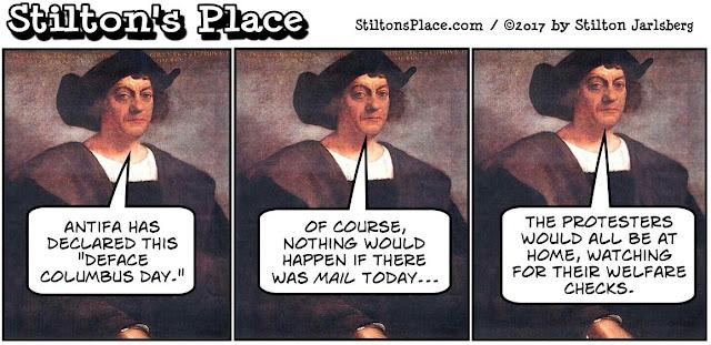 stilton's place, stilton, political, humor, conservative, cartoons, jokes, hope n' change, columbus day, deface, antifa