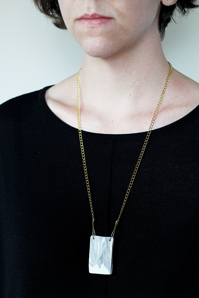 DIY faux marble necklace