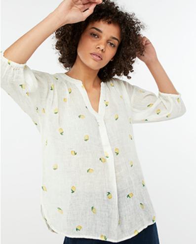 Monsoon Lemon Print Linen Shirt