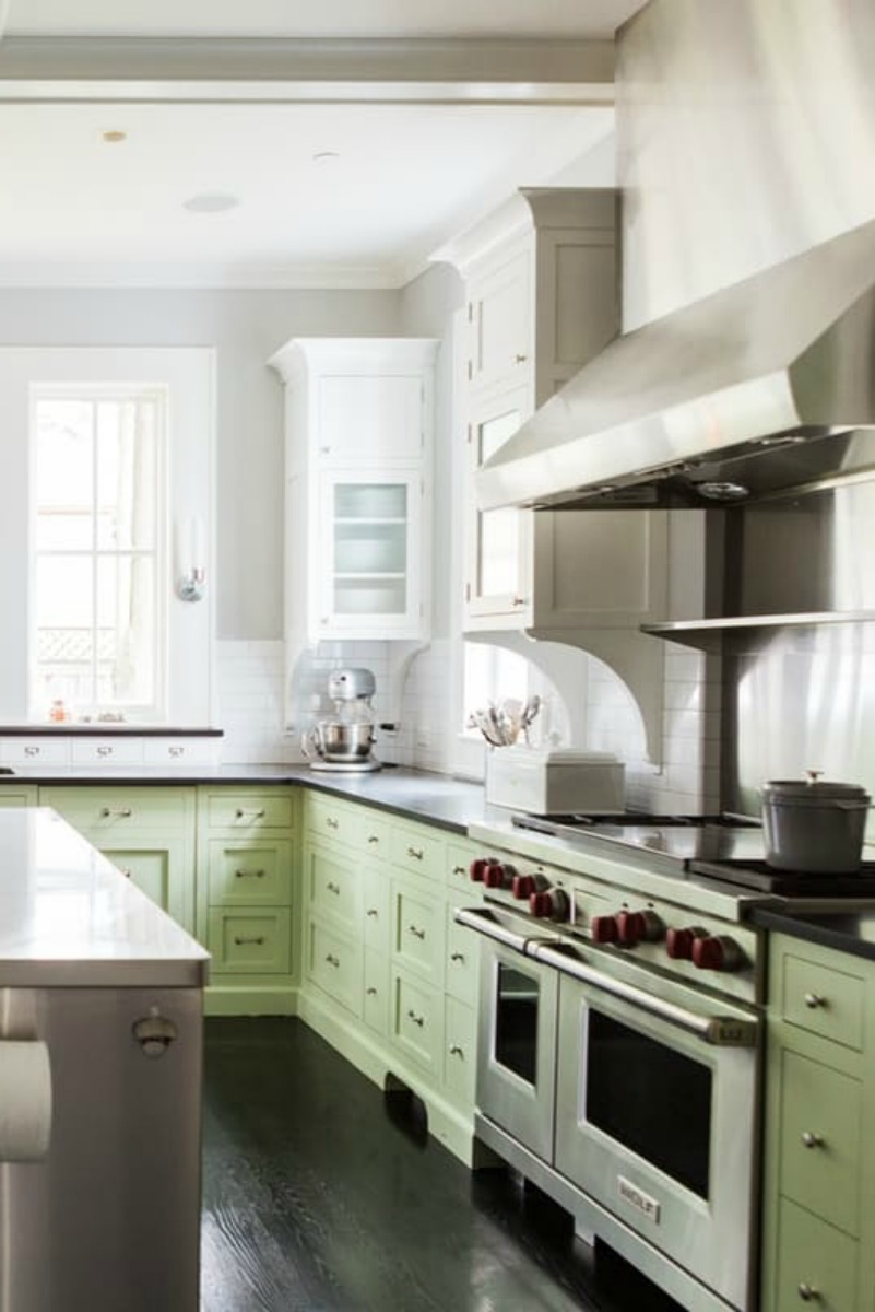 Modern farmhouse kitchen with Shaker cabinets and industrial style on Hello Lovely Studio