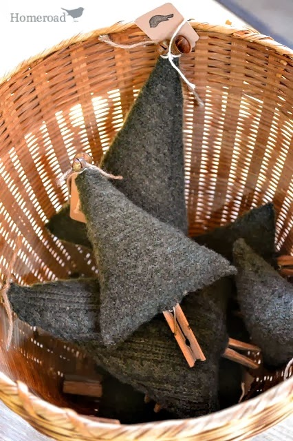 boiled wool Christmas trees in a basket