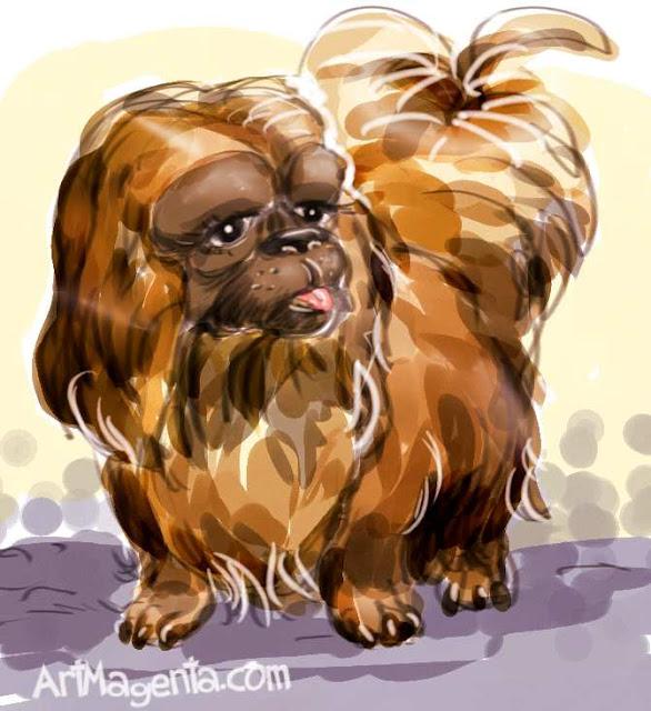Pekingese dog  painted by ArtMagenta