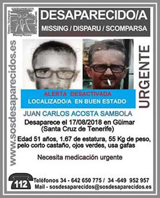 Localizado buen estado hombre desaparecido en Güímar, Juan Carlos Acosta Sambola