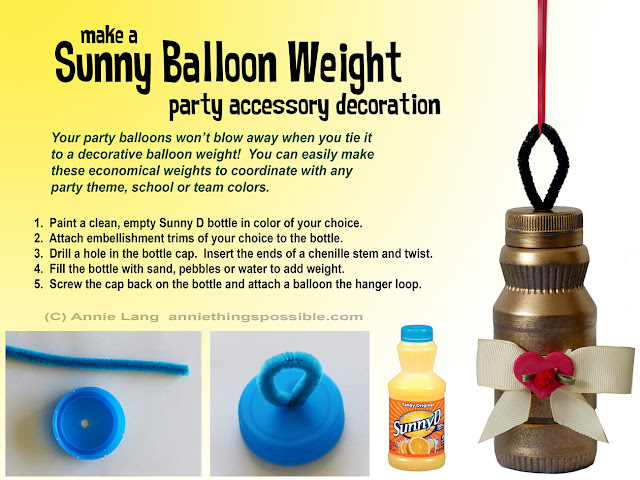 Annie Lang shares a DIY Party Balloon Weight project made from a Sunny D Bottle