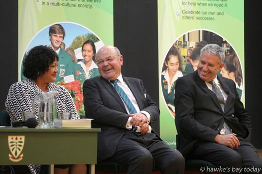 L-R: Cr Adrienne Pierce, Guy Wellwood, mayor Lawrence Yule - mayoral candidates, Hastings District Council, Hastings at a Mayoral Debate hosted by Hawke's Bay Today at Karamu High School, Hastings. photograph