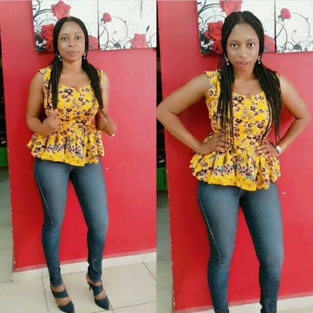 Yellow ankara top on jeans
