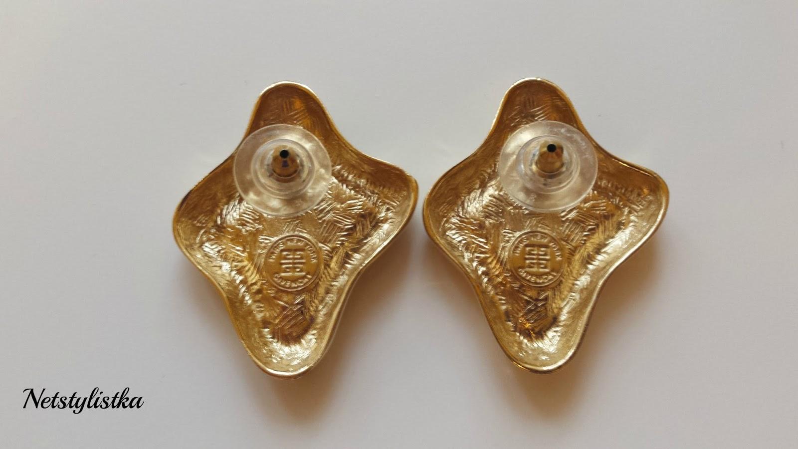 Givenchy biżuteria vintage złote kolczyki od projektanta, stara biżuteria, markowa biżuteria Givenchy