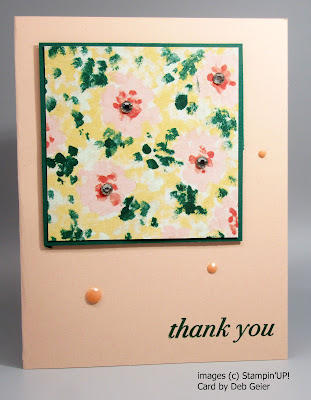 Card featuring designer paper and self-stick embellishments